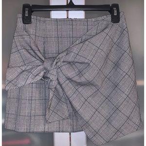 Forever 21 Plaid Tie Front Mini Skirt